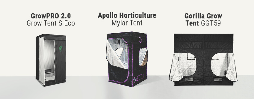 three different grow tent options for growers